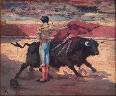 spanish Bullfighting Chest Pass oil on board