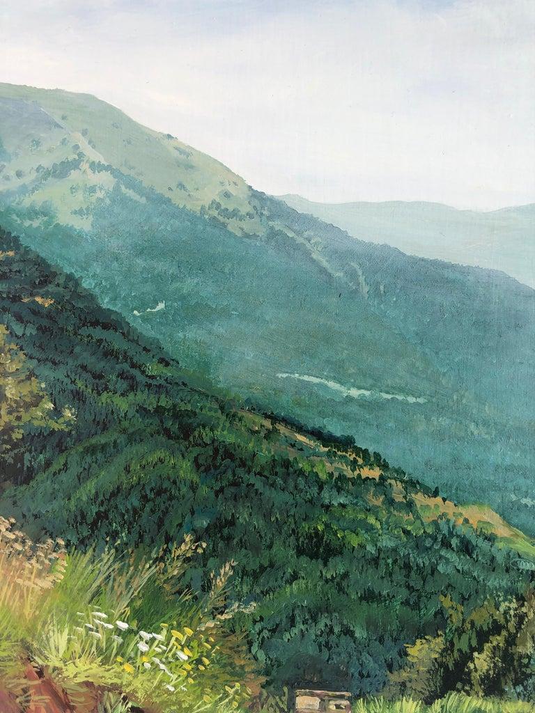 Mountain road Valle de Aran oil on board landscape - Realist Painting by Alberto Biesok