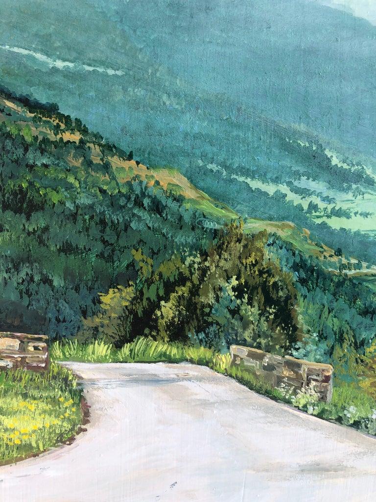 Mountain road Valle de Aran oil on board landscape - Gray Landscape Painting by Alberto Biesok