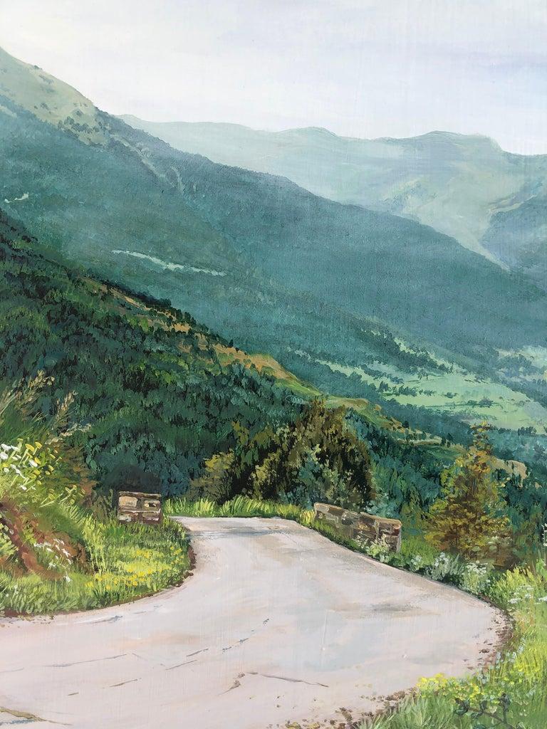 Mountain road Valle de Aran oil on board landscape For Sale 3