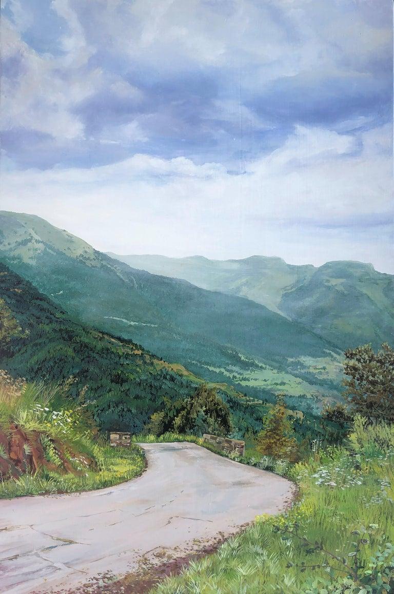 Alberto Biesok Landscape Painting - Mountain road Valle de Aran oil on board landscape