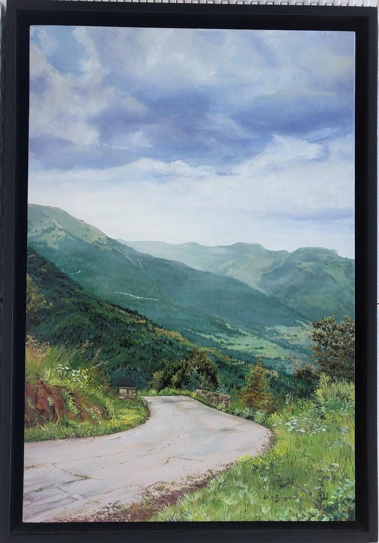 Mountain road Valle de Aran oil on board landscape - Painting by Alberto Biesok