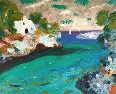 Cala d'Or Mallorca spanish seascape oil on canvas painting