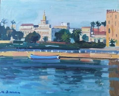 Guadalquivir river Seville seascape original oil painting