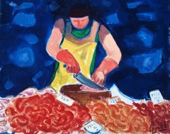 The fishmonger La Rambla Barcelona oil on canvas painting