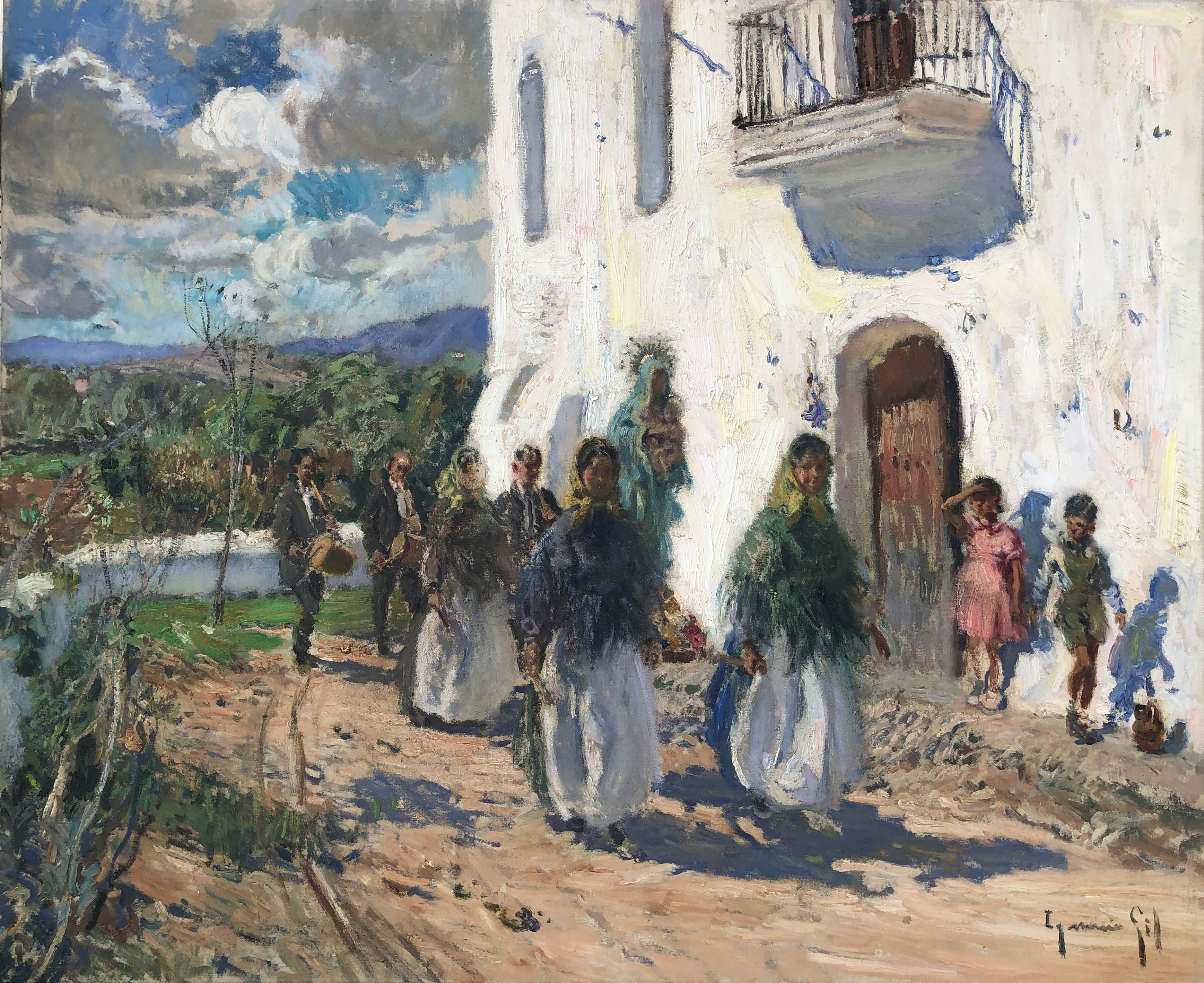 Ceremony in Ibiza Spain original oil on canvas painting