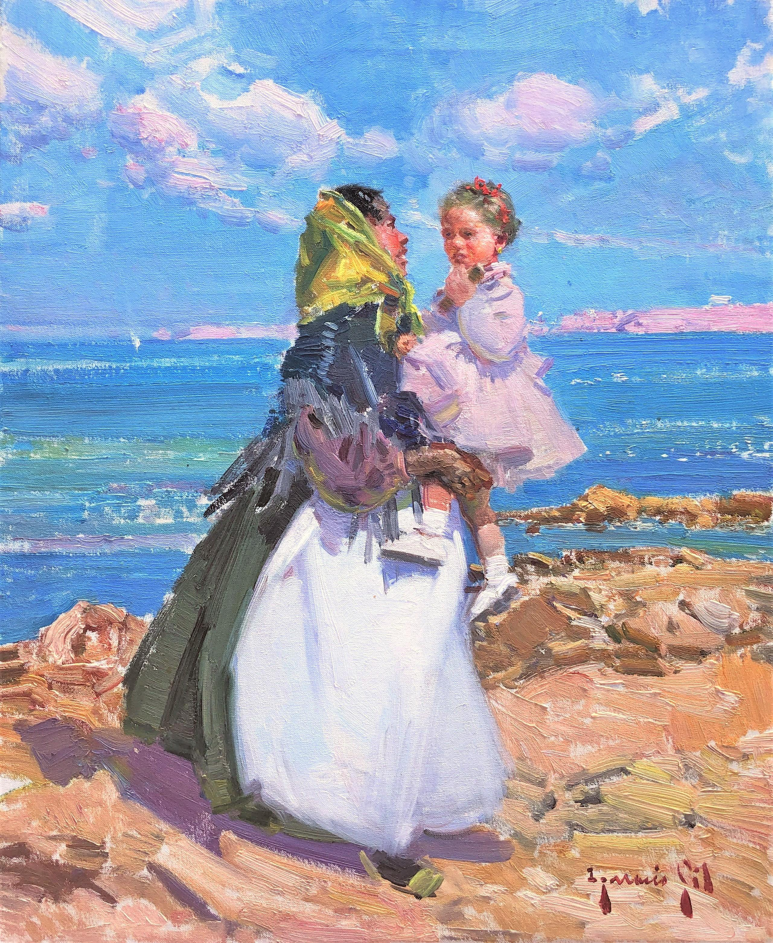 Maternity in Ibiza beach original oil on canvas painting