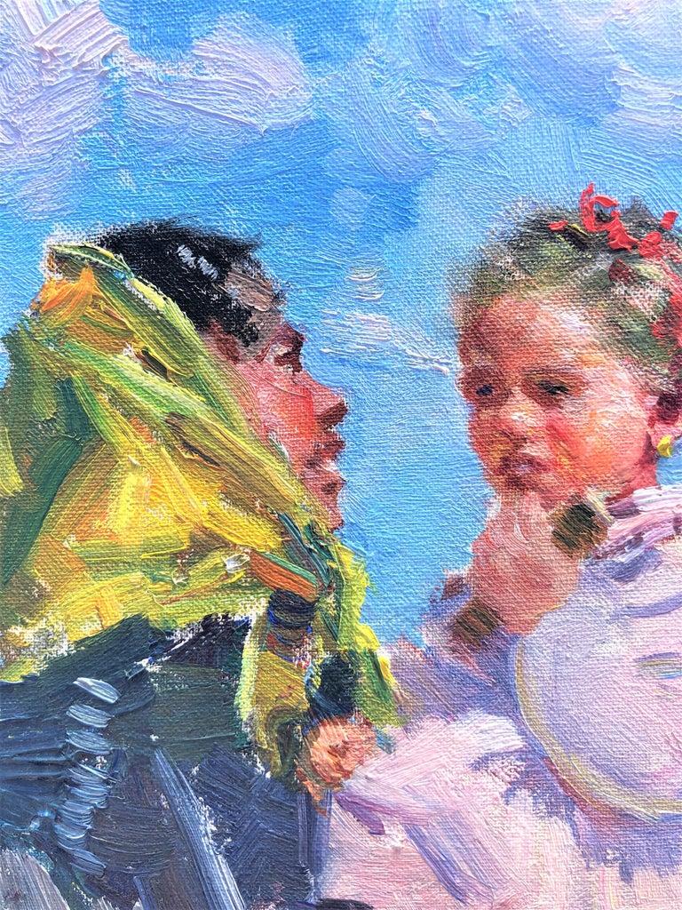 Maternity in Ibiza beach original oil on canvas painting - Gray Portrait Painting by Ignacio Gil Sala