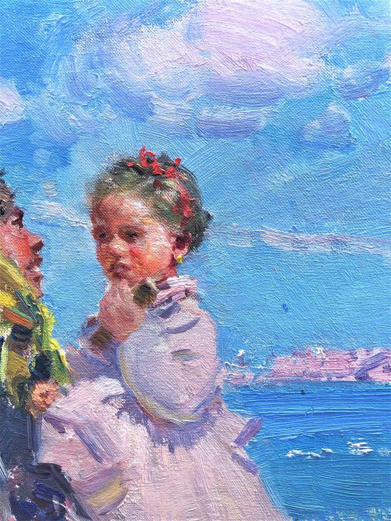 Maternity in Ibiza beach original oil on canvas painting - Post-Impressionist Painting by Ignacio Gil Sala