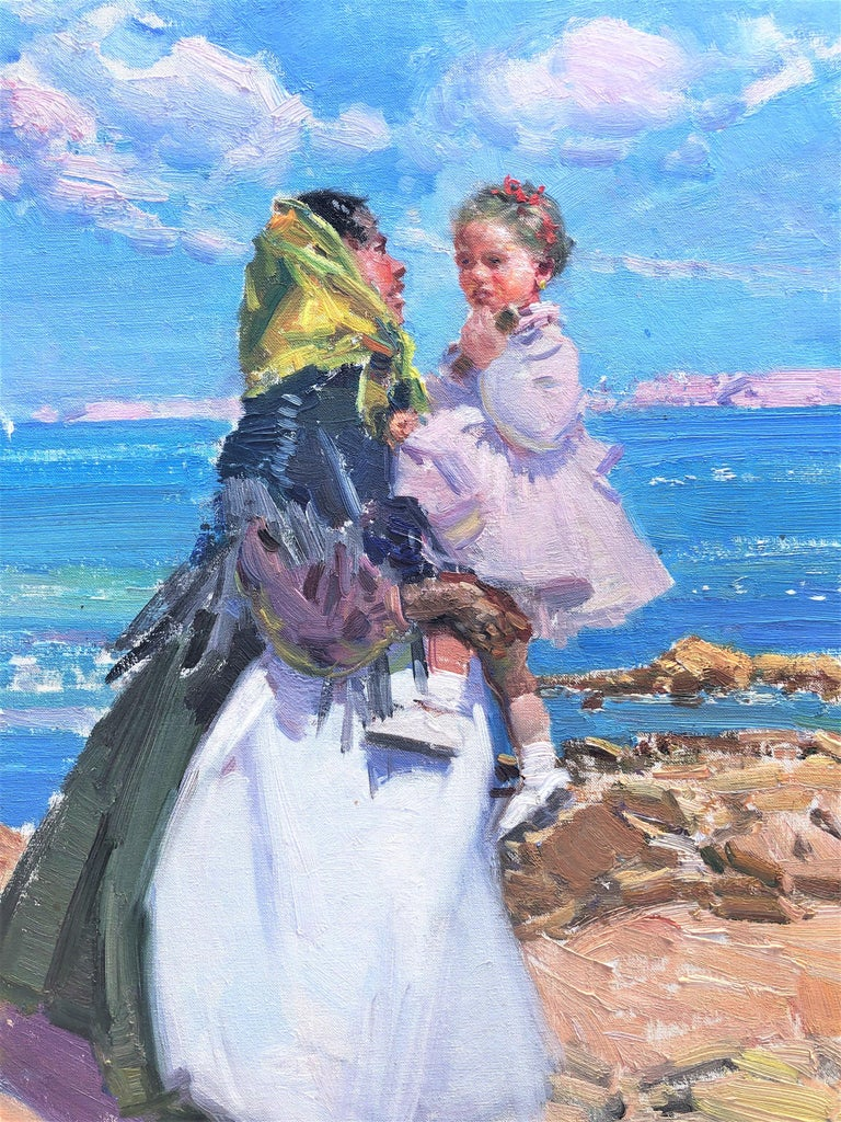 Maternity in Ibiza beach original oil on canvas painting For Sale 2