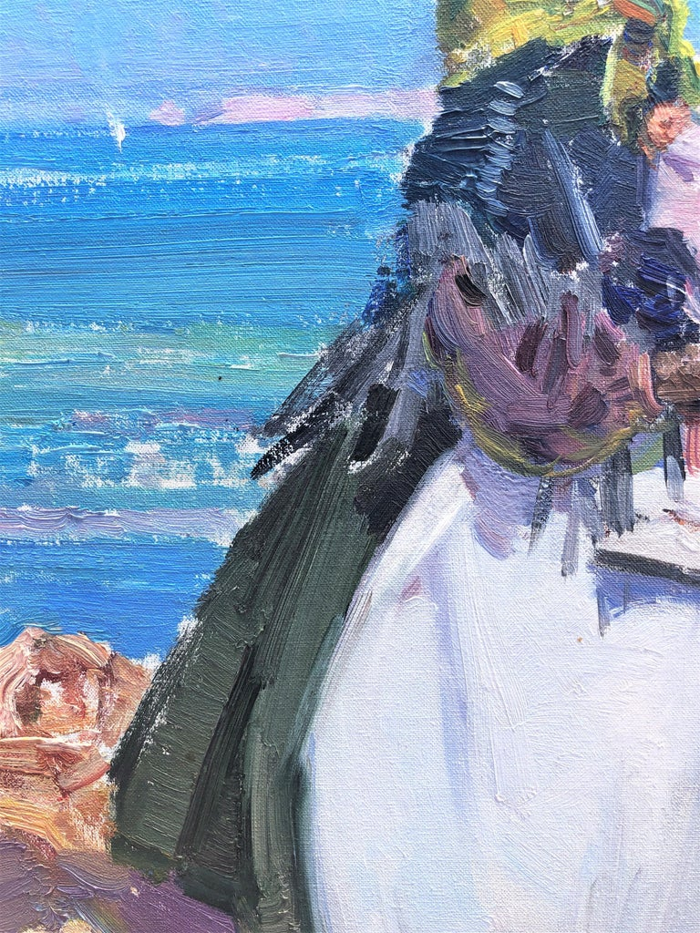 Maternity in Ibiza beach original oil on canvas painting For Sale 1