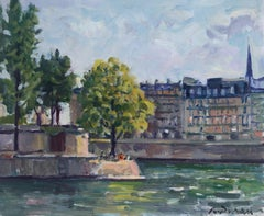 View of Paris Seine river original oil painting