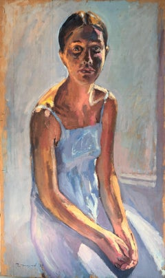 Young woman in blue dress original oil on board painting