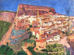 Spanish town view landscape oil on canvas