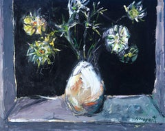 Flower vase original oil on canvas painting c.1980