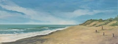 Beach with dunes oil paint on board seascape