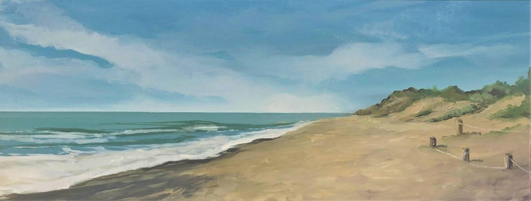 Alberto Biesok Landscape Painting - Beach with dunes oil paint on board seascape