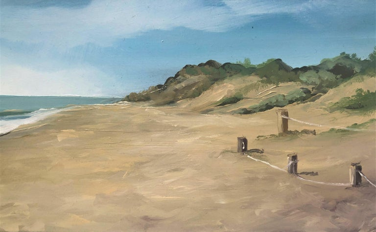 Beach with dunes oil paint on board seascape - Realist Painting by Alberto Biesok