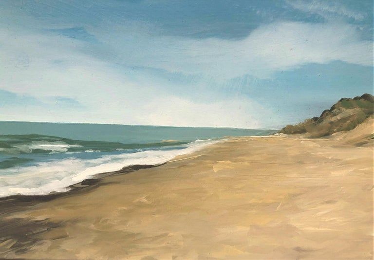 Beach with dunes oil paint on board seascape - Gray Landscape Painting by Alberto Biesok