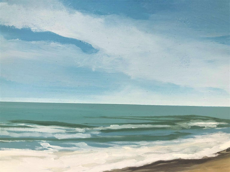 Beach with dunes oil paint on board seascape For Sale 1