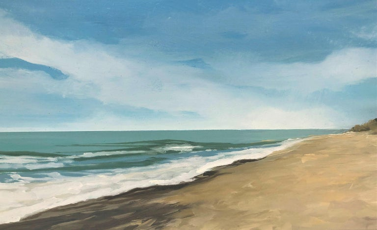 Beach with dunes oil paint on board seascape For Sale 2