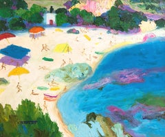 Tamariu Costa Brava Spain seascape oil on canvas painting
