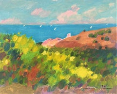 Spanish coast seascape original oil painting