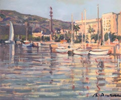 Barcelona seaport and statue of Columbus original oil painting