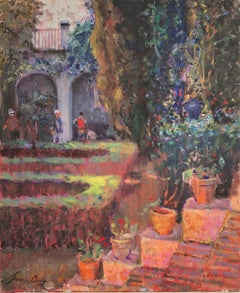 Andalusian patio Spain oil on canvas painting