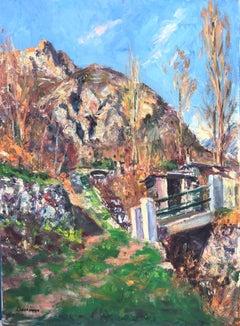 Panticosa Bridge Spain landscape oil on canvas painting