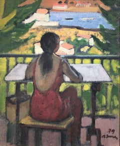 Woman on the balcony, Cadaques Spain seascape oil painting