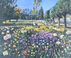 Landscape in spring original oil on canvas painting