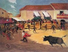 Joaquin Terruella bullfighting scene spanish village oil painting