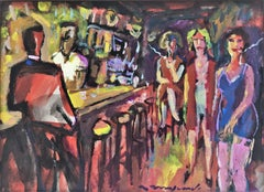 Hostess club (Whorehouse) fauvist mixed media painting