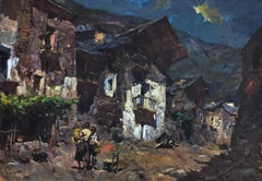 Spanish Rural town landsscape oil on canvas painting