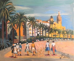 View of Sitges Spain original oil on canvas painting