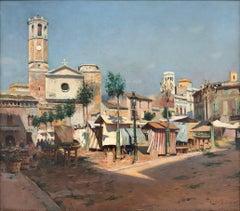 Market day Spain original oil on canvas xix century