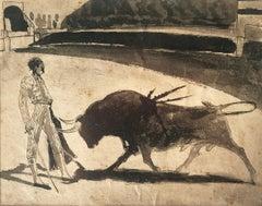 Bullfighting original ink wash watercolor Spanish