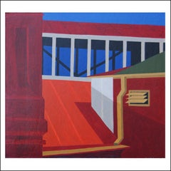 """""""Library"""" Mid-Century Precisionism Cubist Realism Modernism Architectural"""