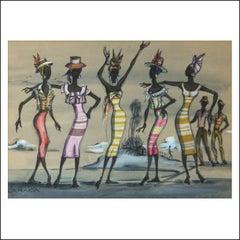 JAMAICA, costume drawing sketch 1957 Lena Horne Broadway musical iIlustration