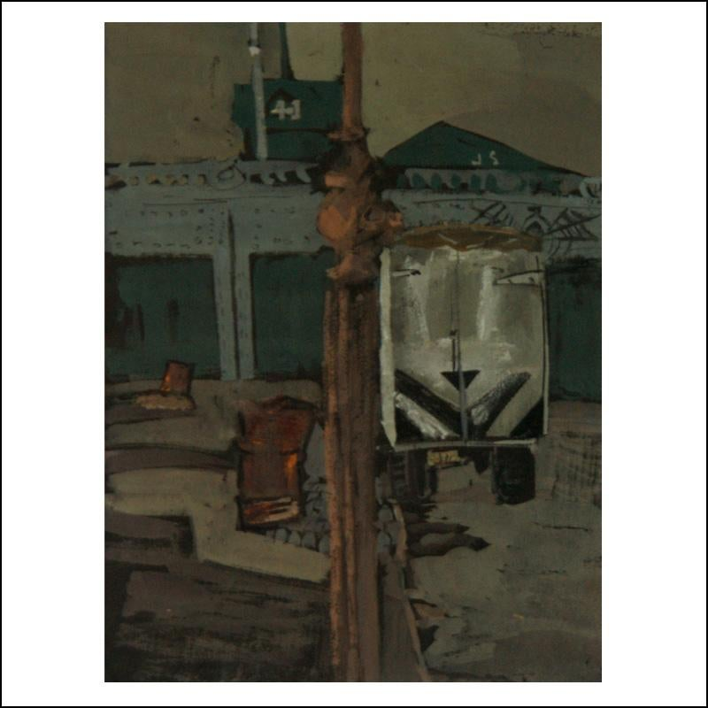 """Rail Yard"" Urban Industrial WPA American Scene Drawing NYC Mid-Century"