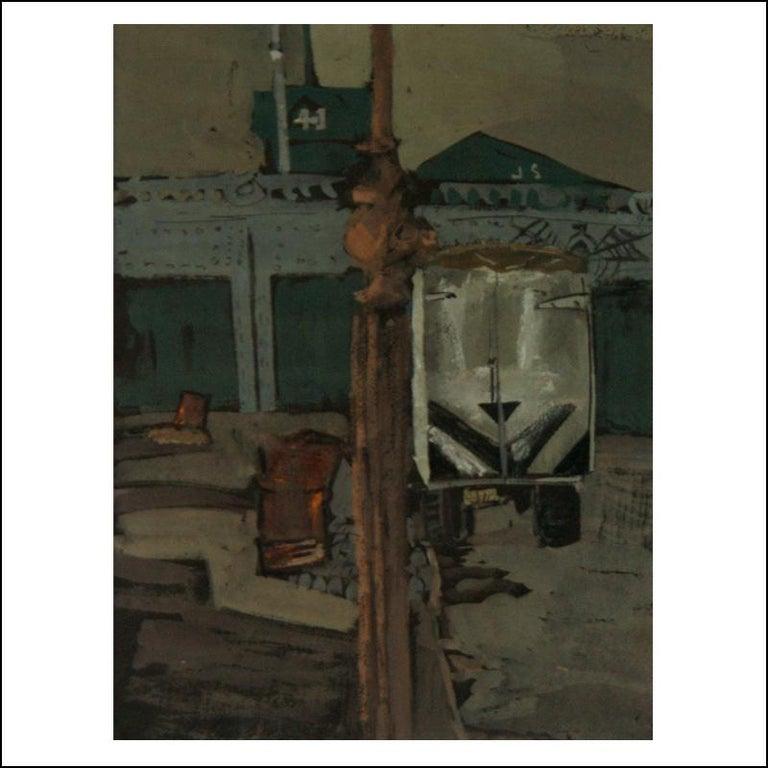 "Joseph Solman Landscape Art - Solman ""Rail Yard with Carriage"" Urban Industrial WPA American Scene Drawing NYC"