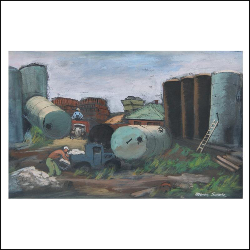 """Gas Tanks"" Industrial WPA Depression-Era, Woodstock American Scene Industrial"