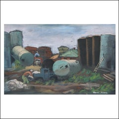 """Gas Tanks"" Industrial WPA Depression-Era, Woodstock American Scene Industrial"