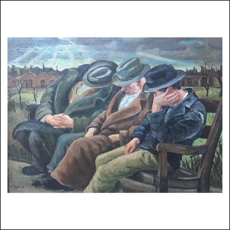 THREE MEN ON A BENCH Chicago WPA Figurative Urban Depression Era American Scene - Painting by Carl Nyquist