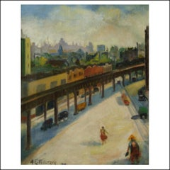New York City El, Subway, Urban Cityscape, Transportation, Female WPA Modernist