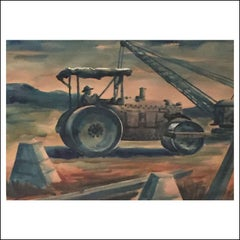 """Road Compactor"" Rural, Industrial, Men Working, American Scene WPA Watercolor"