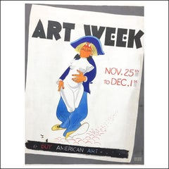 "Al Hirschfeld ""Art Week"" NYC illustration New York Times poster design 1940s"
