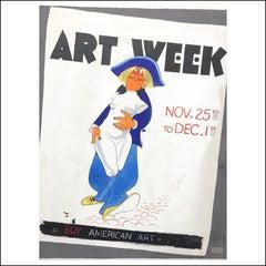 "Al Hirschfeld ""Art Week"" NYC illustration New York Times poster design 1940"