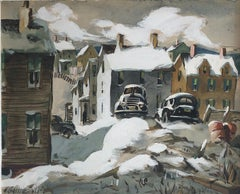Snowy Winter Cityscape, Antique Car Parking Painting, Newark, New Jersey, WPA